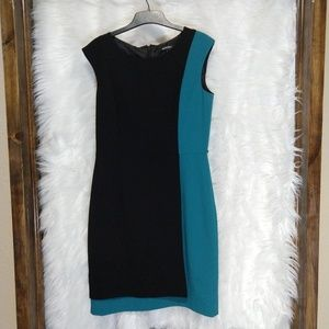ELLEN TRACY professional teal turquoise dress